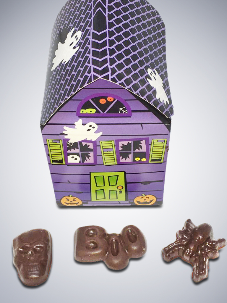 "Chocolate ""Spooky House"" Box and pieces"
