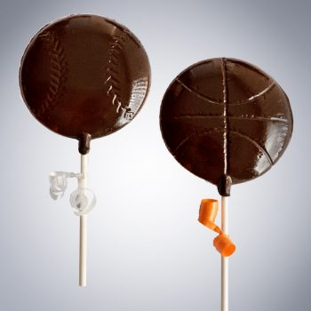 chocolate baseball basketball lollipops