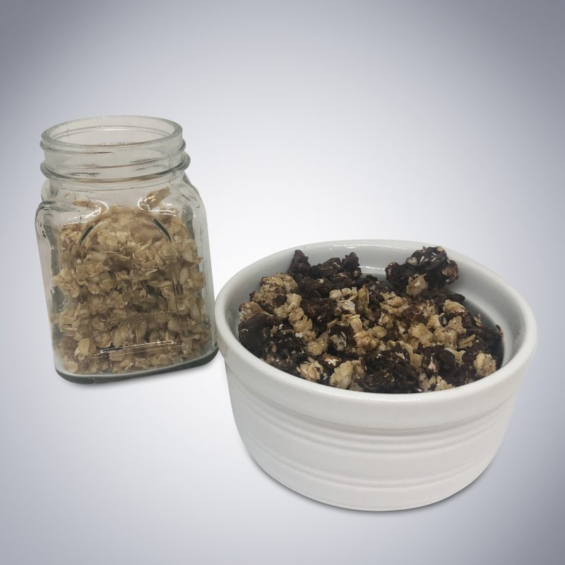 Chocolate Granola Bites in bowl and jar (no spoon) - Blueberry Maple and Caramel Vanilla