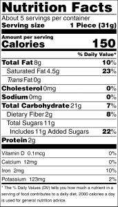 Chocolate Quinoa Crunch Bark - Nutritional Panel