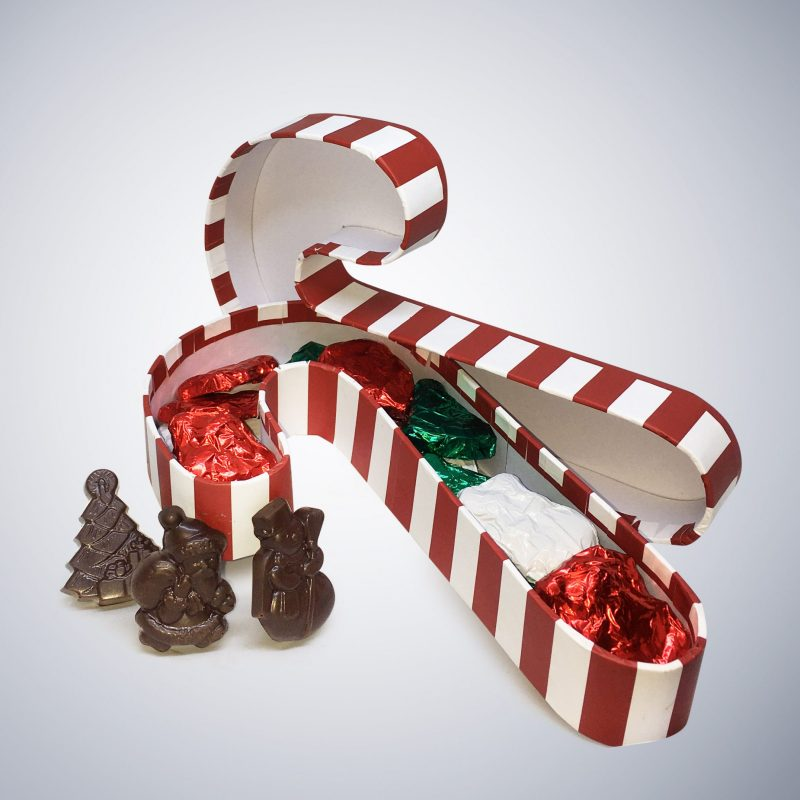 Chocolate Candy Cane Box with top Christmas Bundle