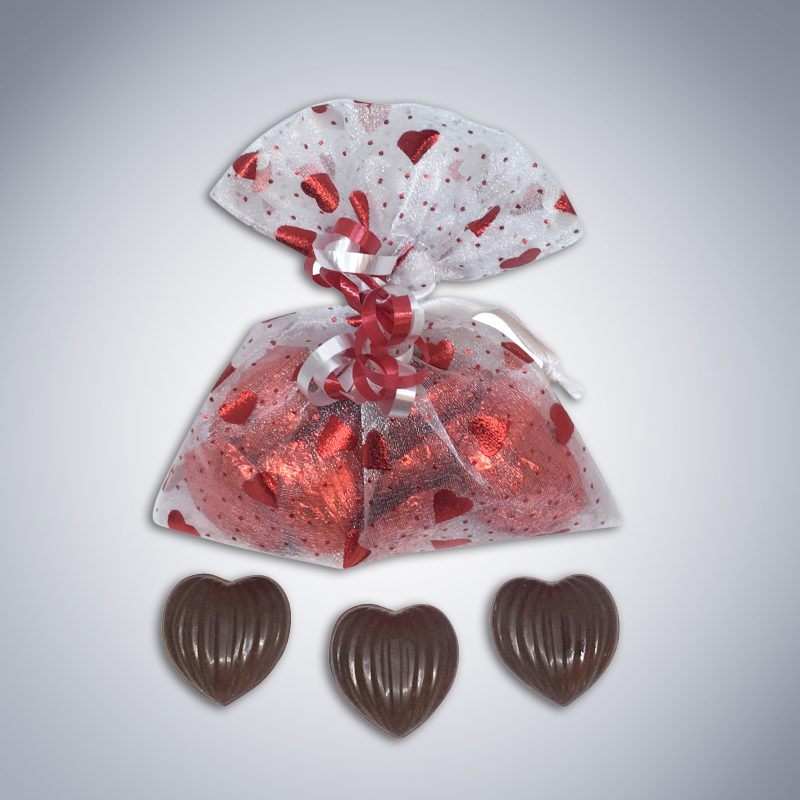 "Chocolate ""Lots of Love"" Organza Bag and pieces - Valentine's Day"
